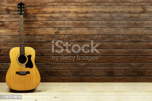 acoustic guitar near a beautiful wooden wall, place for text