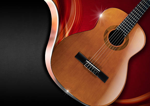 Acoustic Guitar on Luxury Background Acoustic Guitar on red velvet with metal wave and black background serenading stock pictures, royalty-free photos & images