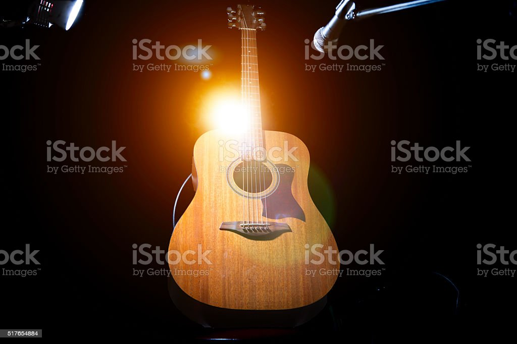 Acoustic Guitar Over Black Background Stock Photo More Pictures Of
