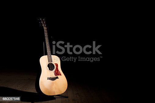 istock Acoustic guitar over dark background with copy space 680097546