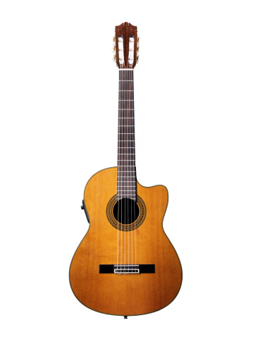 Acoustic guitar isolated in white with clipping path