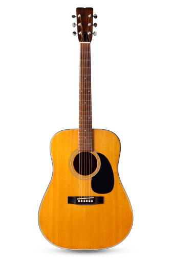 Acoustic guitar. Photo with clipping path.