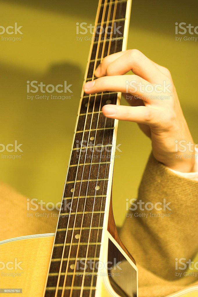Acoustic Guitar Playing royalty-free stock photo