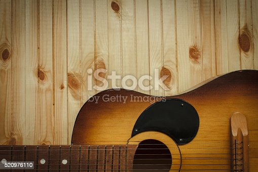 istock Acoustic guitar resting against a wooden background 520976110