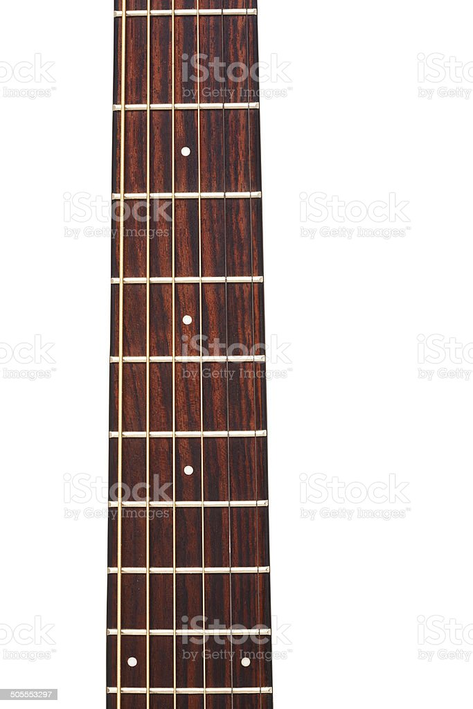 acoustic guitar string and fingerboard stock photo