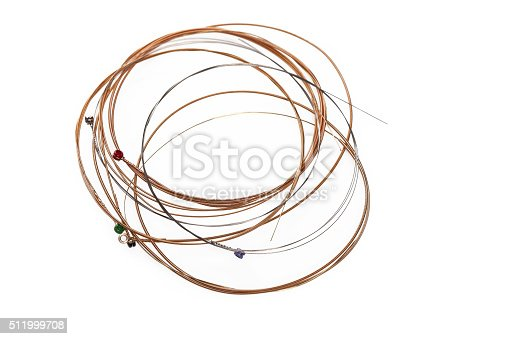 Acoustic Guitar Strings on white background