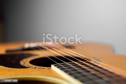 Closeup acoustic guitar on white background. Acoustic guitar that is classic and beautiful