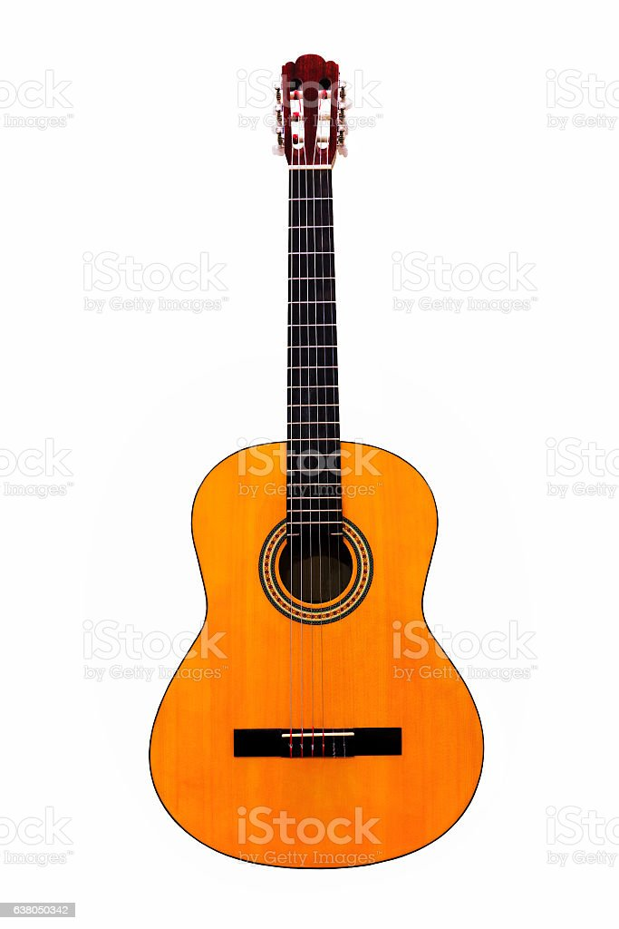 Acoustic guitar wallpaper isolated on white background stock photo