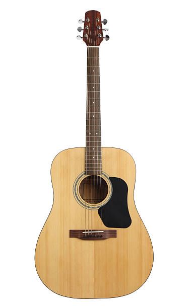 Acoustic guitar with path stock photo