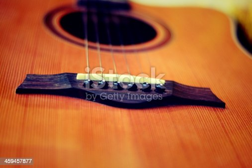 Acoustic guitar with very shallow depth of field