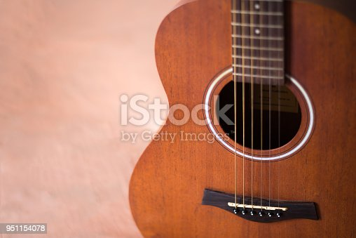 1014432572istockphoto Acoustic wooden guitar with copy space 951154078