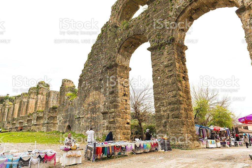 Acquaduct of Aspendos stok fotoğrafı