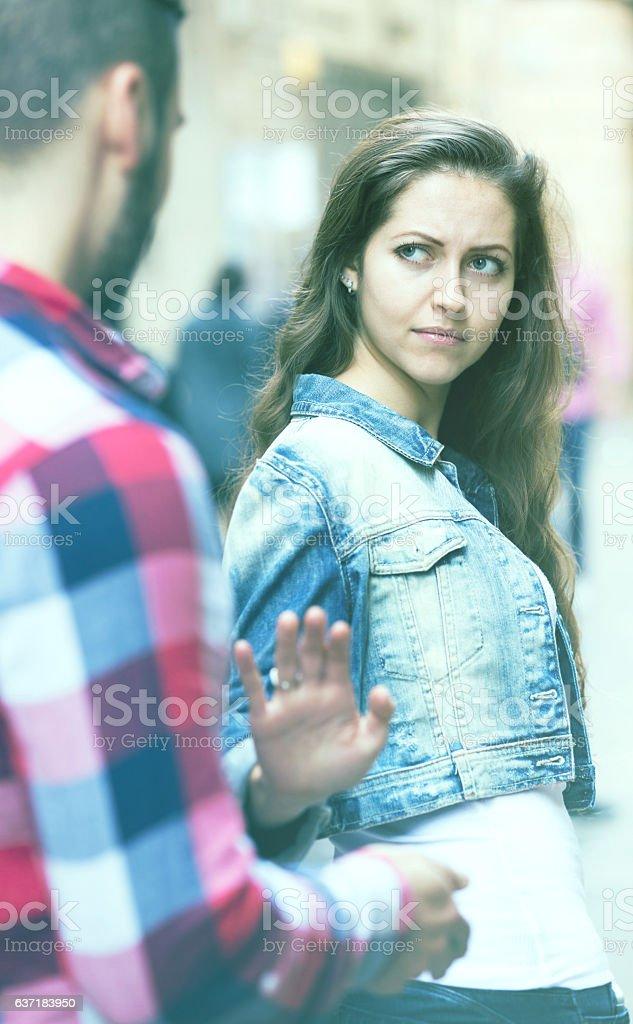 acquaintance on the street stock photo