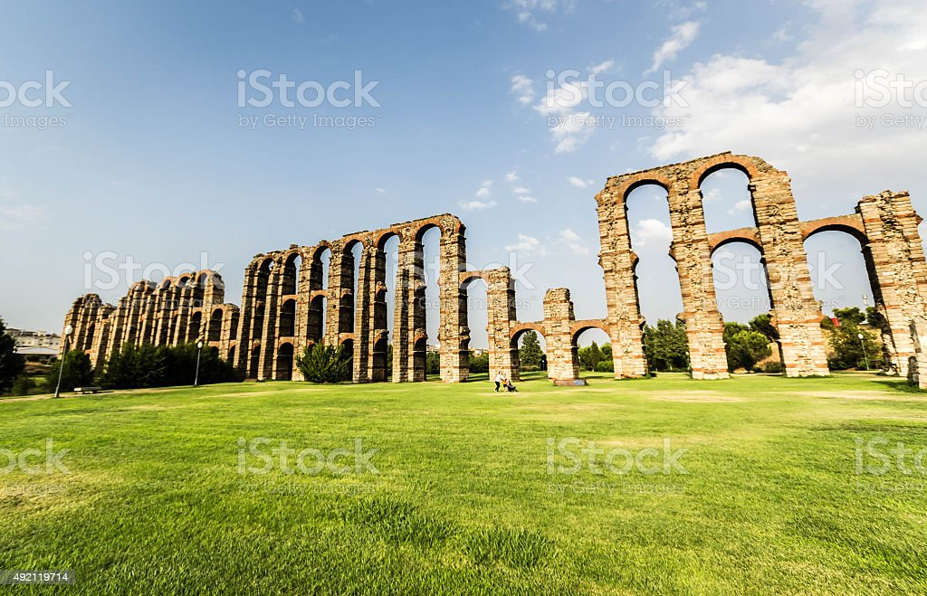 Acqueduct Milagros stock photo