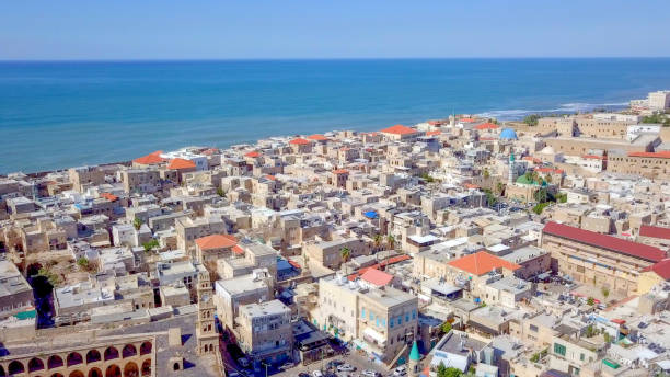 Acre, Israel - Aerial image of the old city, the ancient port and marina stock photo