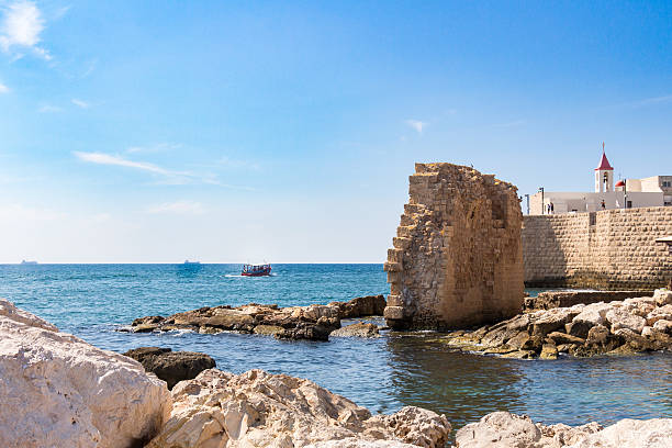 Acre, Remains of ancient harbor stock photo