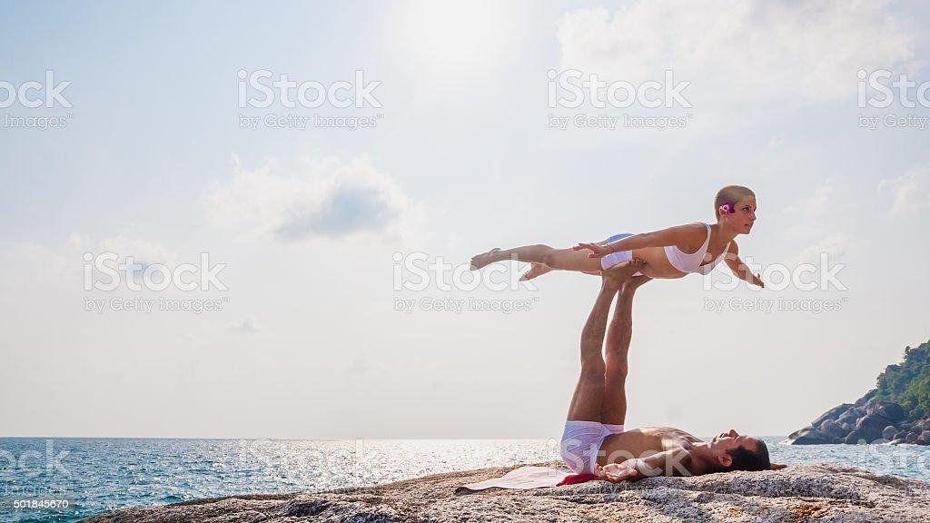 Acro Yoga stock photo