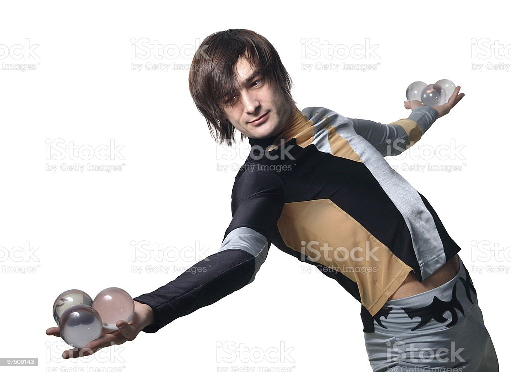 Acrobat with a glass marble royalty-free stock photo