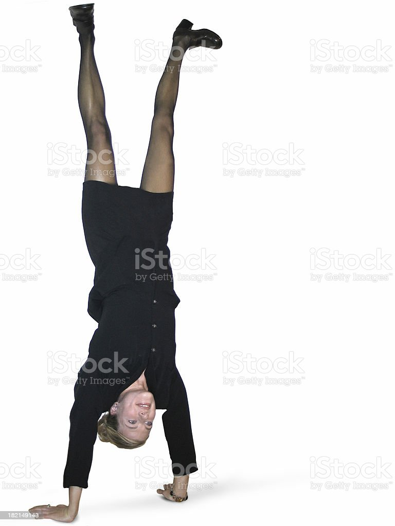Acrobatic business woman royalty-free stock photo