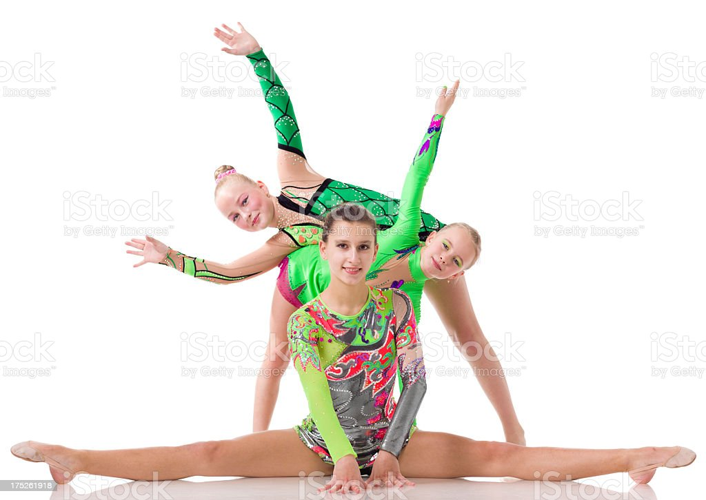 Acrobatic Dancers isolated on white royalty-free stock photo