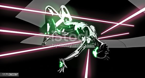 Industrial Spy cyborg is escaping from dangerous lasers. Futuristic theft adventure.