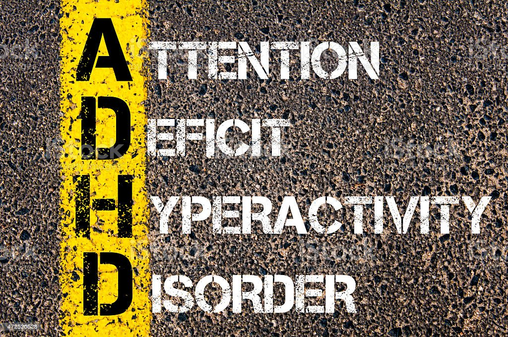 Acronym ADHD as ATTENTION DEFICIT HYPERACTIVITY DISORDER stock photo