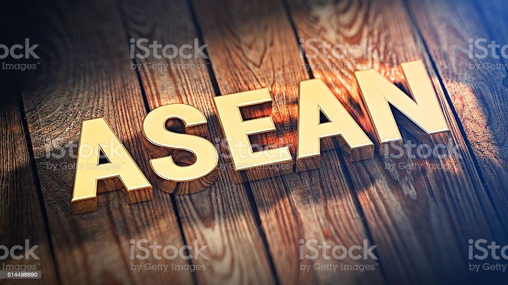 Acronym ASEAN on wood planks stock photo