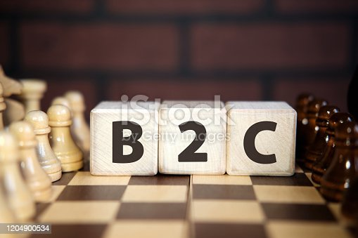 B2C - Acronym Business to Consumer in wooden