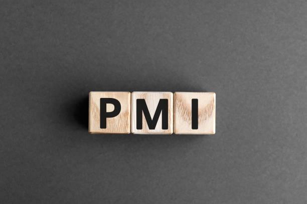 pmi - acronym from wooden blocks with letters - organizzatore elettronico foto e immagini stock