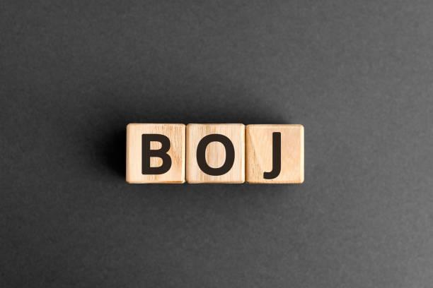 日銀 - 文字で木製のブロックからの頭字語 - 日本銀行 ストックフォトと画像