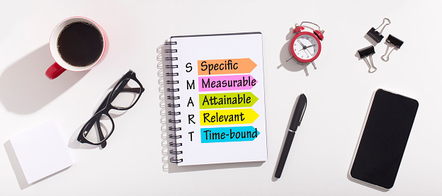 Goals Setting And Planning. Acronym Of Word Smart Made Of Words Specific And Measurable, Attainable, Relevant And Time-Bound Over White Office Desk Background With Notebook. Panorama, Top View