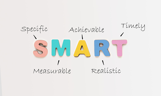 Goals Setting And Planning. Colorful Word Smart As Acronym Of Different Words Over White Background. Set And Achieve Your Goal, Motivational Banner. Panorama, Top View