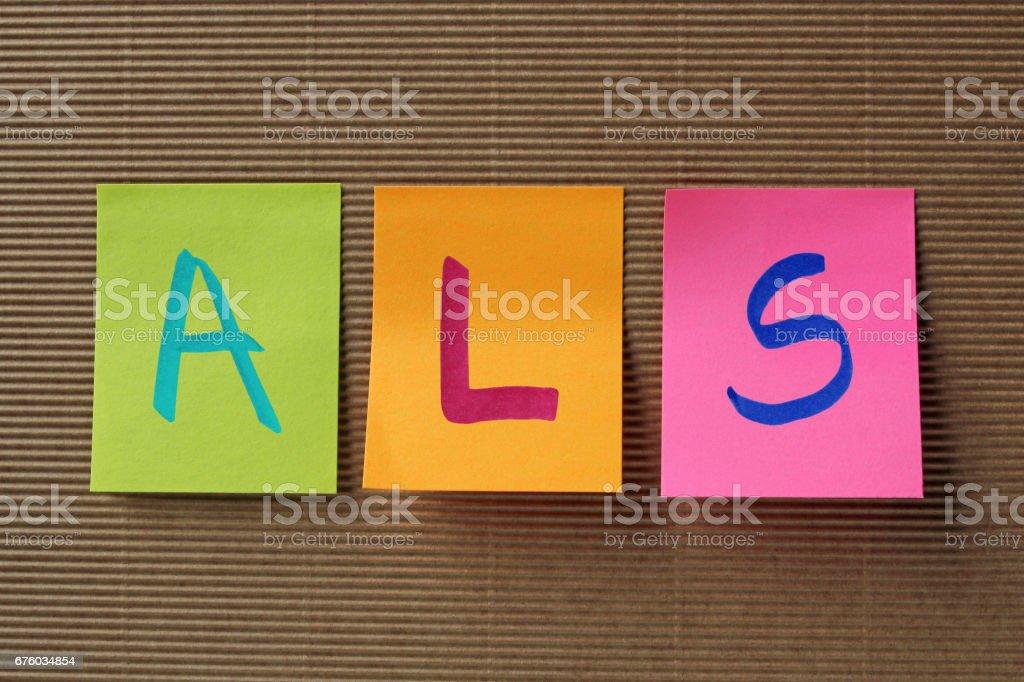 ALS acronym on colorful sticky notes stok fotoğrafı