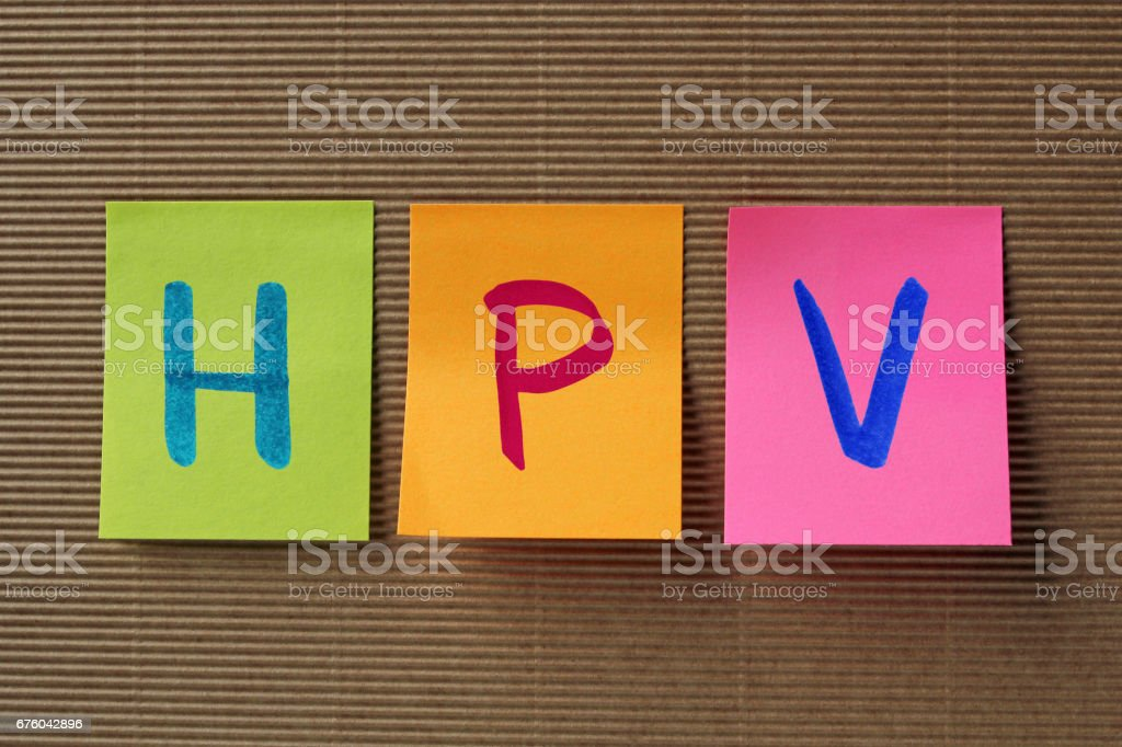 HPV acronym on colorful sticky notes stock photo