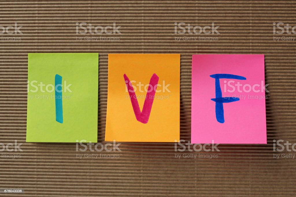 IVF acronym on colorful sticky notes stock photo