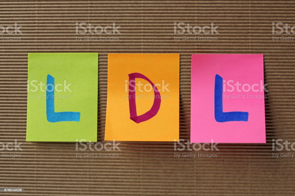 LDL acronym on colorful sticky notes stock photo
