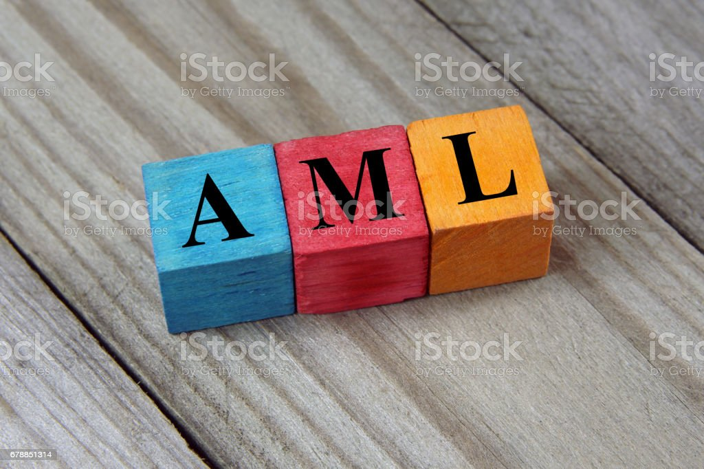 AML acronym on colorful wooden cubes stock photo
