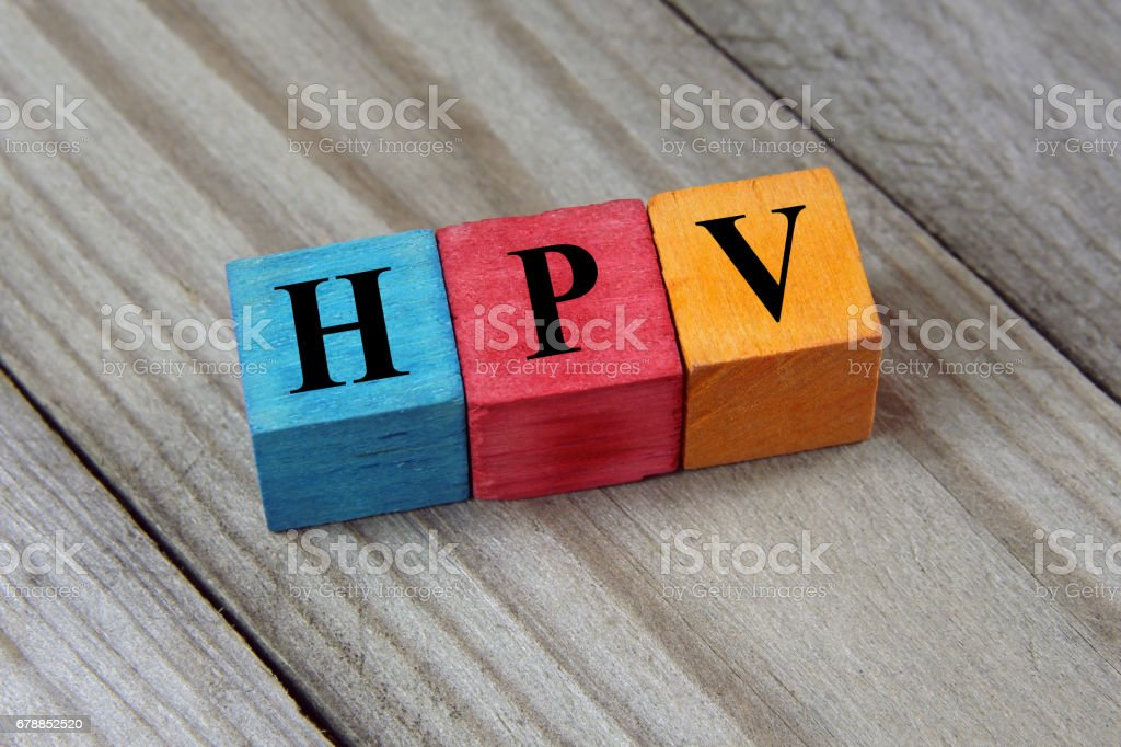 HPV acronym on colorful wooden cubes stock photo