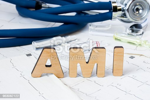 istock AMI Acronym or abbreviation to medical concept or diagnosis of acute myocardial infarction or heart attack. Word AMI letters stands on sheets of ECG on background of stethoscope and medicines 953062122
