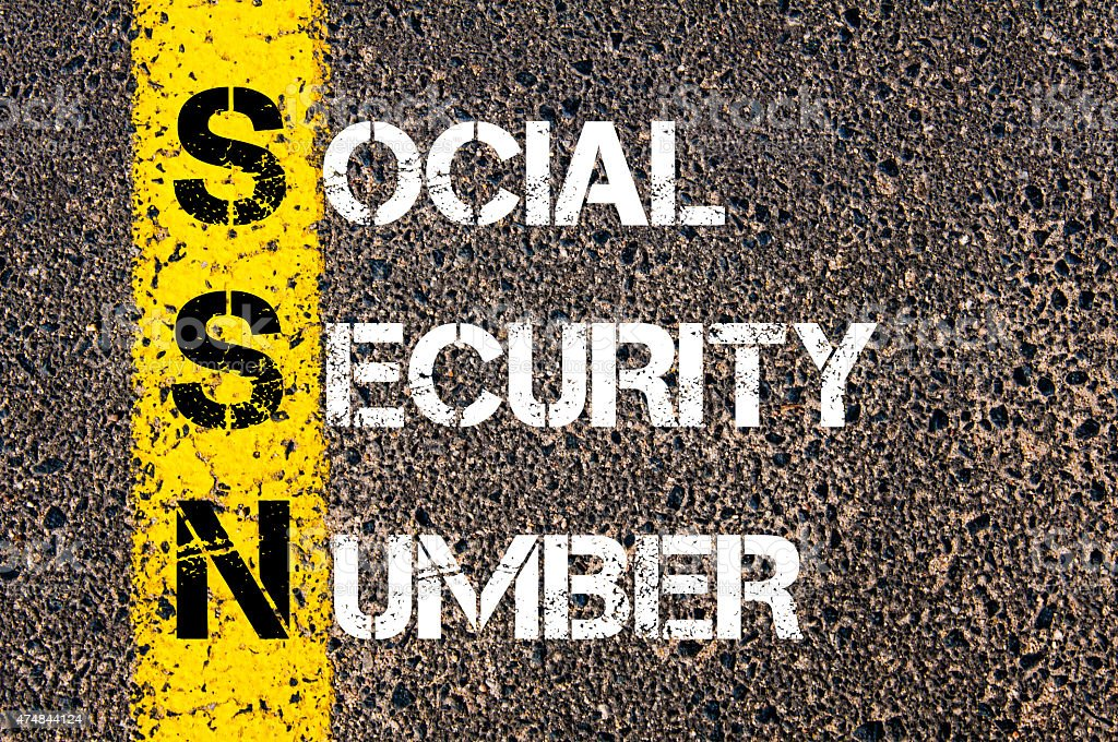 Acronym SSN as Social Security Number stock photo