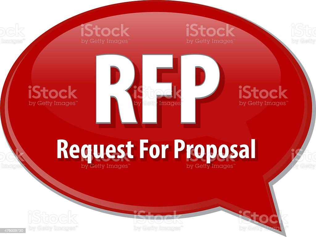 RFP acronym word speech bubble illustration stock photo