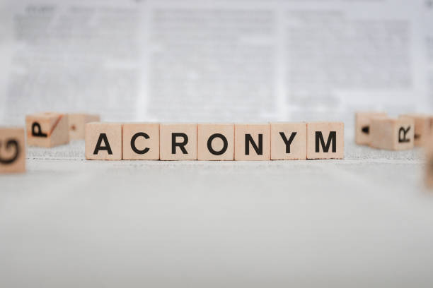 Acronym Word Written In Wooden Cube - Newspaper stock photo