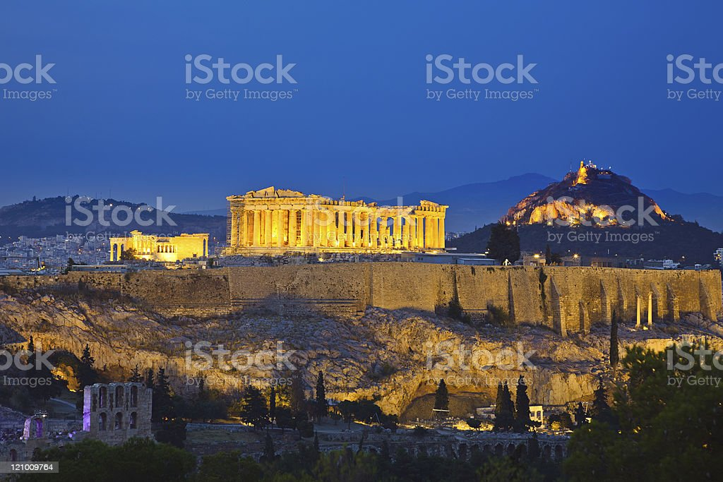 Acropolis at night stock photo