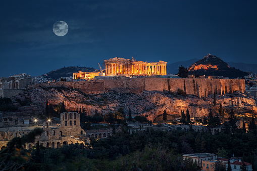 Acropolis at night with full moon Greece