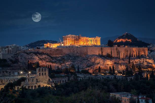 Akropolis in der Nacht mit Vollmond Griechenland – Foto