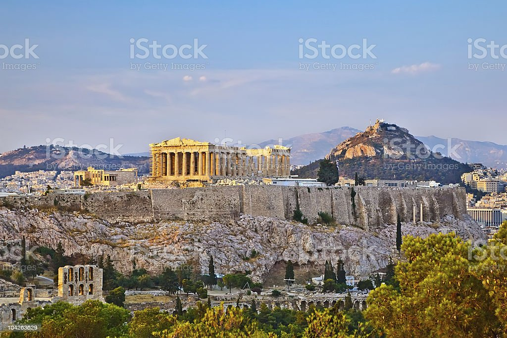 Acropolis at sunset stock photo
