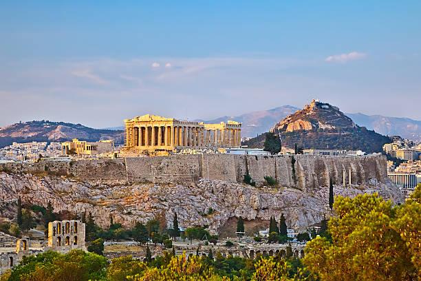 Blick auf die Akropolis bei Sonnenuntergang – Foto