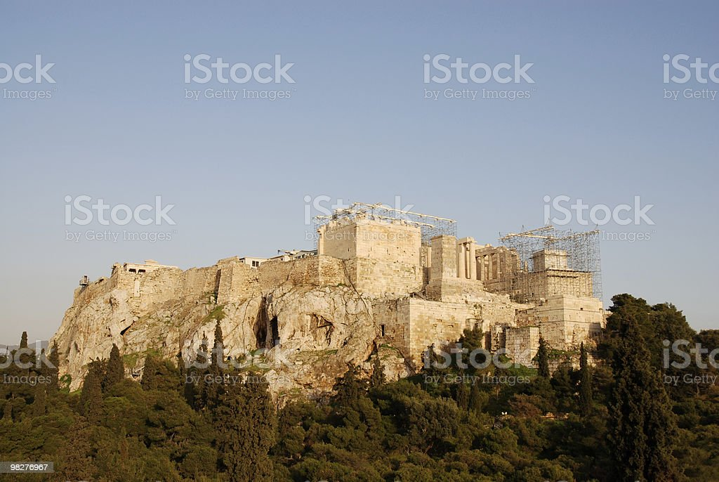 L'Acropoli, Atene, con l'ultimo sunrays foto stock royalty-free