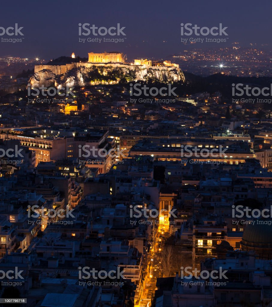 Acropolis by night stock photo