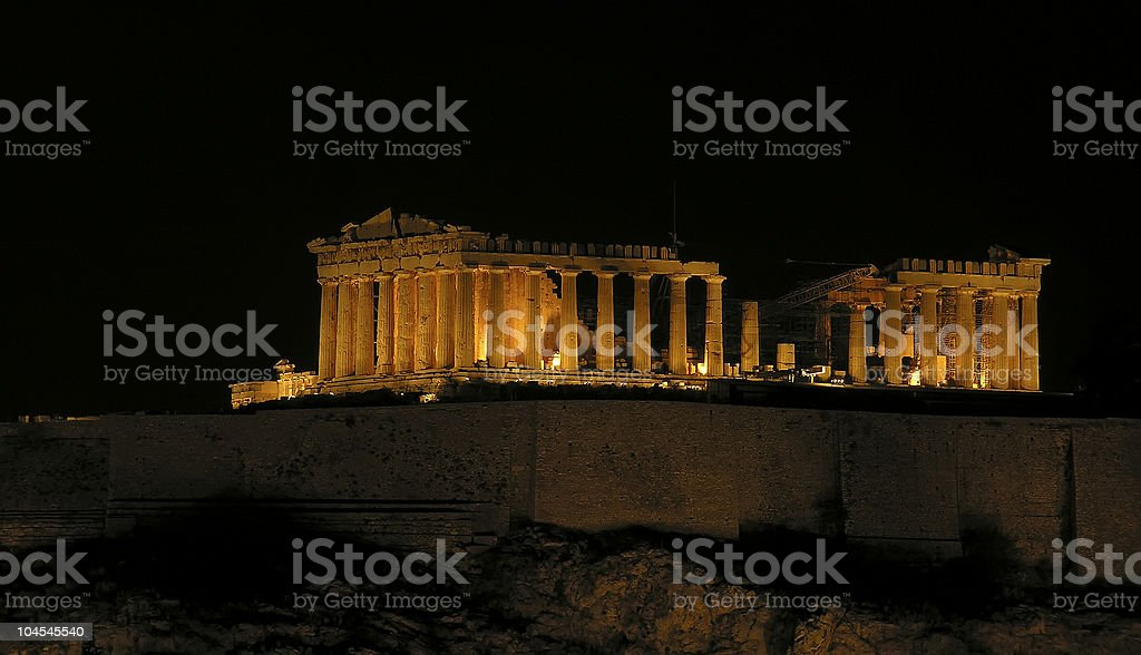 Acropolis by night royalty-free stock photo